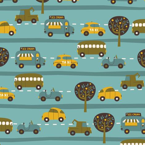 Around Town Cars fabric by zesti on Spoonflower - custom fabric