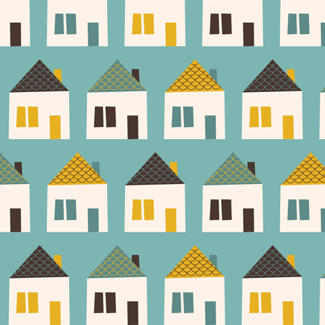 Around Town Blue Houses fabric by zesti on Spoonflower - custom fabric