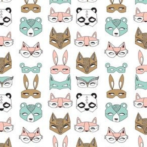 Animal Masks - Pale Turquoise, Pale Pink, (Tiny Version) by Andrea Lauren