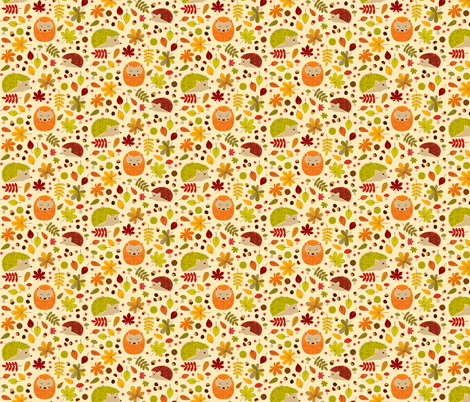 Hedgehogs and Chestnuts fabric by swissette on Spoonflower - custom fabric