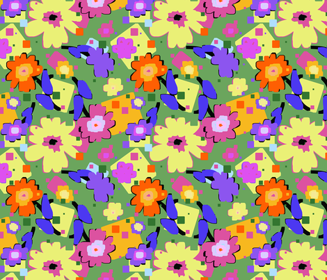 Chunky_Flowers___Squares_OrangeYellow fabric by donnamarie on Spoonflower - custom fabric