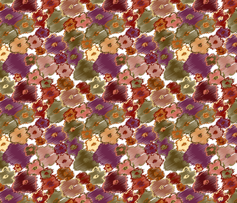 Scribble_Flowers_Earthtone fabric by donnamarie on Spoonflower - custom fabric