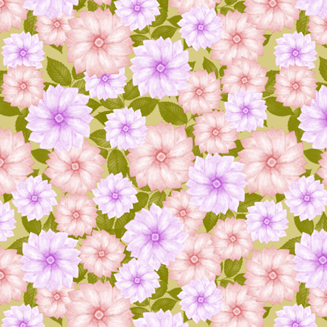 Soft Spring Flowers fabric by flamincatdesigns on Spoonflower - custom fabric