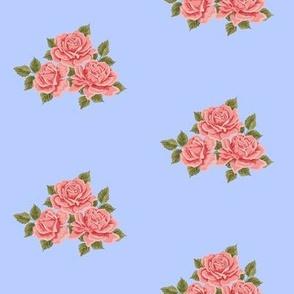 Vintage Roses on Blue