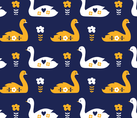 swansong-blue fabric by teamkitten on Spoonflower - custom fabric