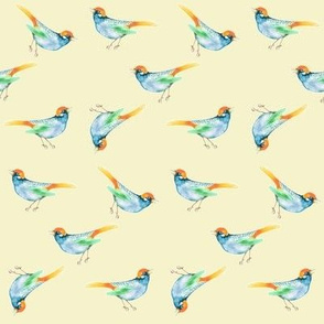 SongBird Blue Orange on Cream, Ditsy