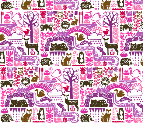 Spring is coming... (hedgehogs-pink) fabric by analinea on Spoonflower - custom fabric
