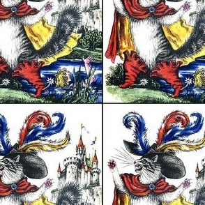 puss in boots cats castles lakes rivers plants fairy tales story son miller Anthropomorphic vintage retro kitsch prince