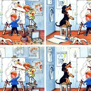 drawing painting art drawings dogs children boys girls easel canvas cats brushes paints palettes portraits vintage retro kitsch whimsical