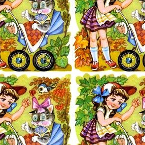 cats maple leaf autumn berry children girls birds autumn cats kittens pussy prams strollers leaves vintage retro kitsch baby babies