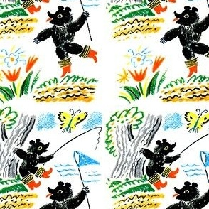 bears boots trees butterfly butterflies fishing nets catching flowers vintage retro kitsch whimsical lakes rivers simple