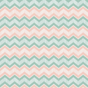 coral and mint chevron
