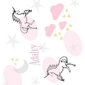 magical unicorns 7 -VERTICAL  gray pink sprinkle-PERSONALIZED Adaley