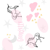 magical unicorns 7 -VERTICAL  gray pink sprinkle-PERSONALIZED Georgette