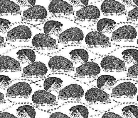 Hedgehogs fabric by linsart on Spoonflower - custom fabric
