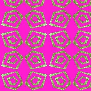 Block Print    pentagon  bright pink