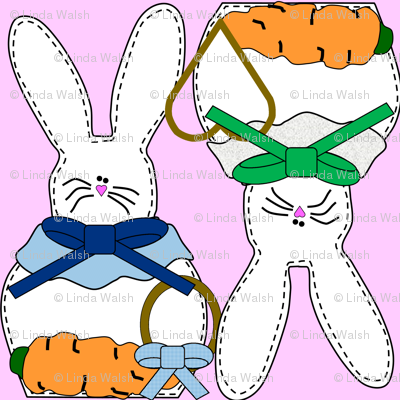 Bunny and Carrots Fabric 1