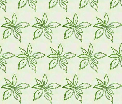 leaves block print green fabric - koalalady - Spoonflower
