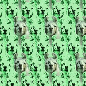 Llama faces - green