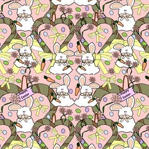 Bunny Easter Eggs,Hearts, Easter Eggs, Spring Flowers and Carrots Fabric 5