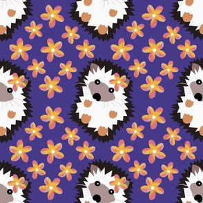 Hedgehogs and Plumeria on Vintage Violet