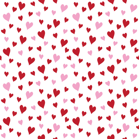 Heart to Heart (Red and Pink) fabric by robyriker on Spoonflower - custom fabric