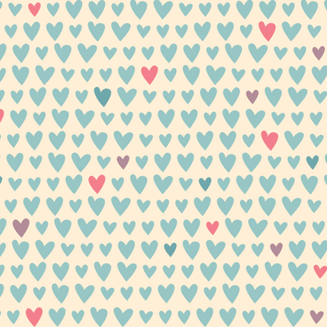 L'Amour Toujours Blue Hearts fabric by zesti on Spoonflower - custom fabric