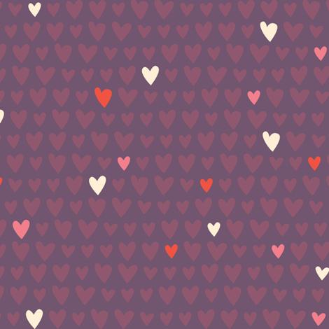 L'Amour Toujours Purple Hearts fabric by zesti on Spoonflower - custom fabric