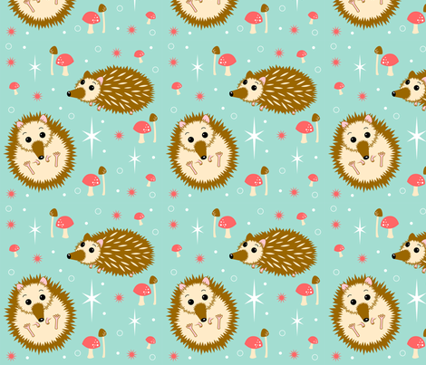 Prickles_and_Mushrooms fabric by fridgeworthy_designs on Spoonflower - custom fabric
