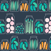 Pickled veggies on a shelf