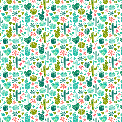 Cacti in watercolor (mini) fabric by heleen_vd_thillart on Spoonflower - custom fabric