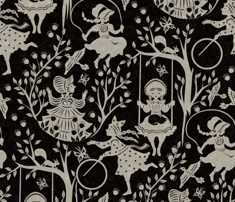 country-girls-black fabric by gaiamarfurt on Spoonflower - custom fabric