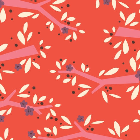 L'Amour Toujours Red Blossoms fabric by zesti on Spoonflower - custom fabric