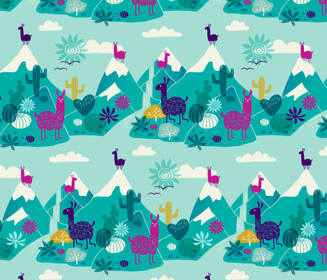 Llamas in the wild fabric by heleen_vd_thillart on Spoonflower - custom fabric