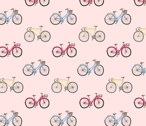 Bikes Pink fabric by emmakisstina on Spoonflower - custom fabric