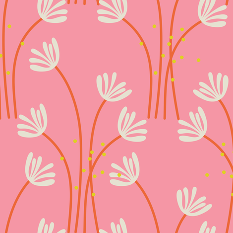 See You Later Pink Flowers fabric by zesti on Spoonflower - custom fabric