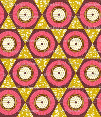 African Waxprint Pink Mustard