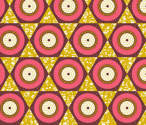 African Waxprint Pink Mustard fabric by zesti on Spoonflower - custom fabric