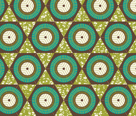 African Waxprint Green Teal fabric by zesti on Spoonflower - custom fabric