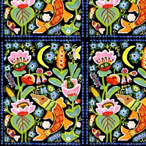tribal folk art colorful nature butterfly music flowers water lotus lily fishes moon ponds vintage retro kitsch abstract