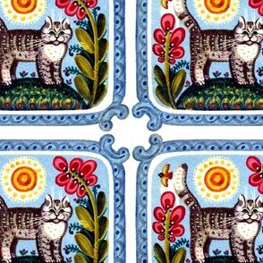 vintage retro kitsch flowers sun birds cats pussy folk art