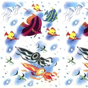 ocean sea underwater fishes aquatic marine jelly squids octopuses Moorish Idol stars angelfish Butterflyfish tropical