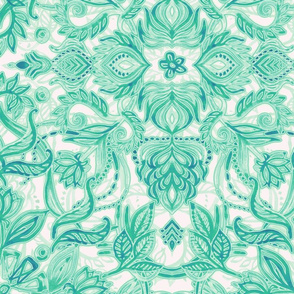 Emerald Tattoo - a pattern of green and cream