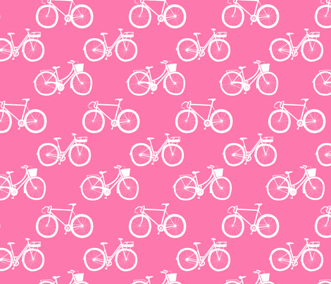 White Bikes on Pink fabric by emmakisstina on Spoonflower - custom fabric