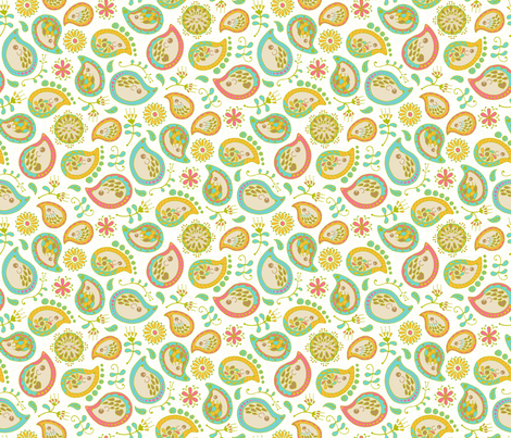 Hedgehog Paisley - C-Green & White 50% :) fabric by mia_valdez on Spoonflower - custom fabric
