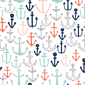 anchors // nautical anchor navy mint red sailing fabric andrea lauren