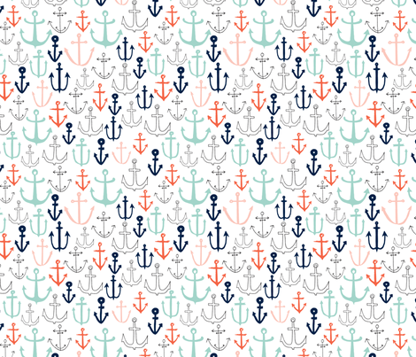 anchors // nautical anchor navy mint red sailing fabric andrea lauren fabric by andrea_lauren on Spoonflower - custom fabric