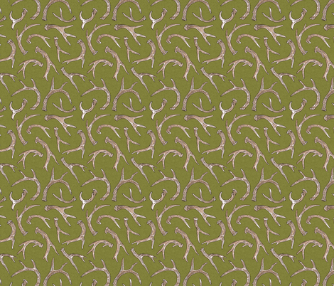 Antlers Moss fabric by meganmerz on Spoonflower - custom fabric