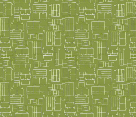 midcentury furniture in moss fabric by betsysiber on Spoonflower - custom fabric