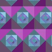 Green, blue, purple squares 1/2 brick